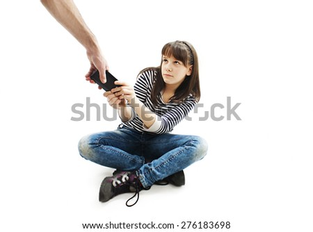 Parent abduct phone from girl. Isolated on white background  - stock photo