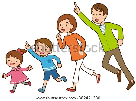 """Parent and child to be running """"illustrated with lines and color"""" - stock photo"""