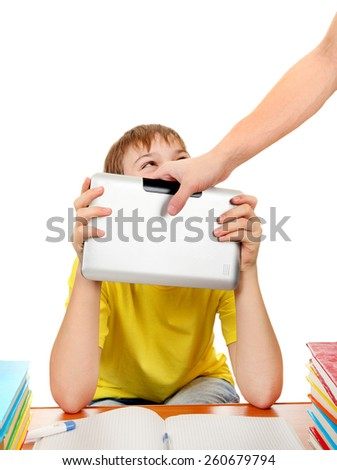 Parent dragging Tablet from the Son Isolated on the White Background - stock photo