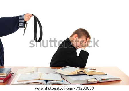 parent forced son for education concept. isolated on the white - stock photo