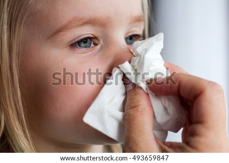 Parent hand helping the playing little girl to blow her nose with a hygienic wet wipe. Seasonal sickness.