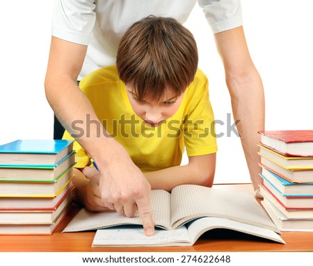 Parent help to Son with Homework on the White Background - stock photo
