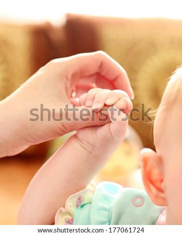 Parent holds Babys Hand Closeup - stock photo