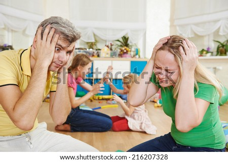 parent in confusion state of children bad manners behaviour - stock photo
