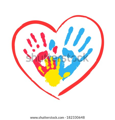 Parent's and kid's hands in a heart - stock photo