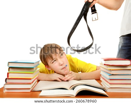 Parent threatening Son for a Learning on the white background - stock photo