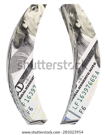 Parenthesis from dollar bill alphabet set isolated over white. Computer generated 3D photo rendering. - stock photo
