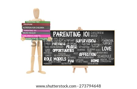 Parenting 101 Blackboard Mannequin stack of Books Parenting Tips, Discipline, Nutrition, Sibling Rivalry, Children's Fables, Saving for Kids College isolated on white background - stock photo