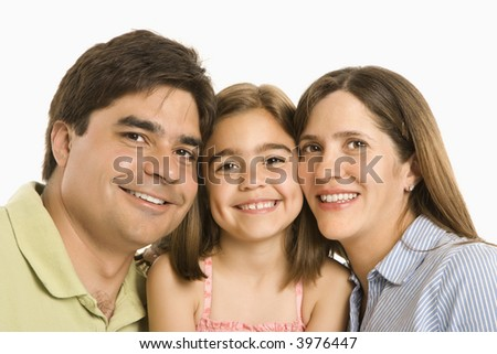Parents and daughter smiling against white background. - stock photo