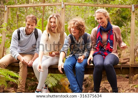 Parents and teens playing, sitting on a bridge in a forest - stock photo