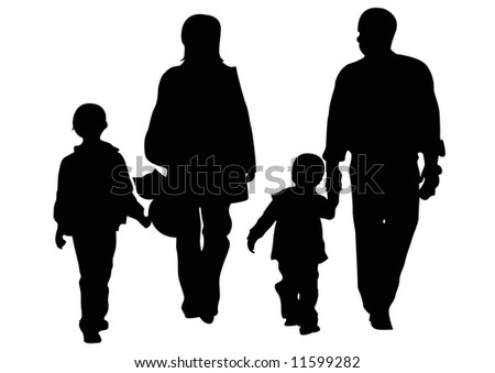 parents and two children - stock photo