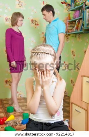 Parents argue, the child suffers - stock photo