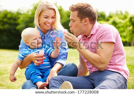 Parents Blowing Bubbles For Young Boy In Garden - stock photo