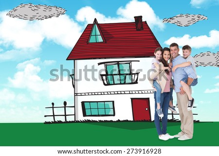 Parents giving piggyback ride to children over white background against blue sky - stock photo