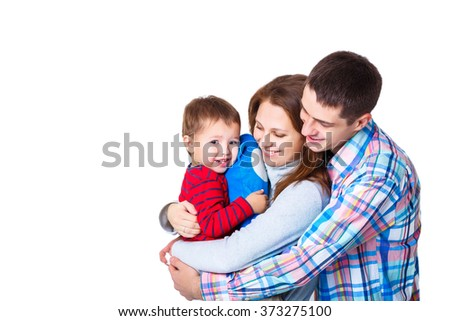 parents playing with son. mommy, daddy and little baby boy. happy family - stock photo