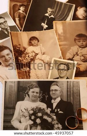 Parents' vintage photos - stock photo