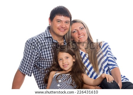 Parents with daughter seven years isolated on a white