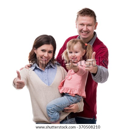 parents with little daughter portrait with thumbs up - stock photo
