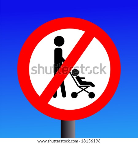 parents with strollers prohibited sign on blue illustration JPEG