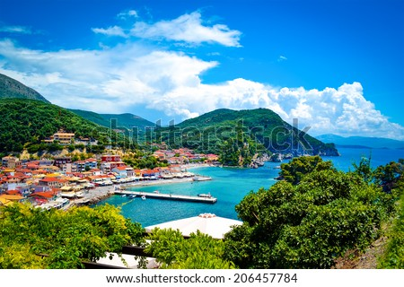 Parga, a small Greek village near the Ionian sea, Greece.  - stock photo