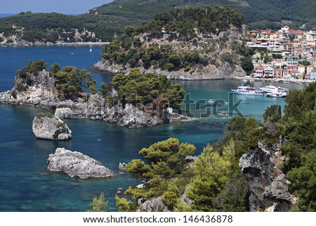 Parga and Panagia isle view near Syvota in Greece. Ionian sea - stock photo
