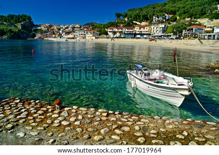 Parga boat sea - greek tourist resort - stock photo