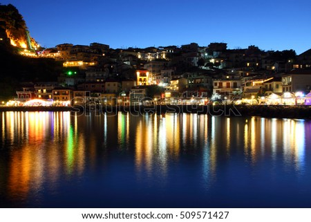 Parga city at night Mediterranean tourist resort in Epirus Greece