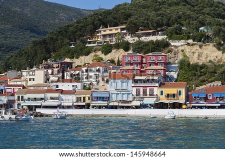 Parga town and port near Syvota in Greece. Ionian sea