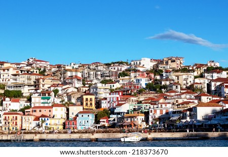 Parga town and port near Syvota in Greece. Ionian sea. - stock photo