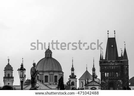 Pargue city, view of Charles Bridge, Czech Republic.