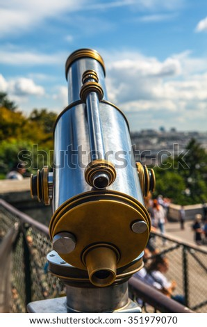 Paris aerial telescope view from Monmartre hill.  - stock photo