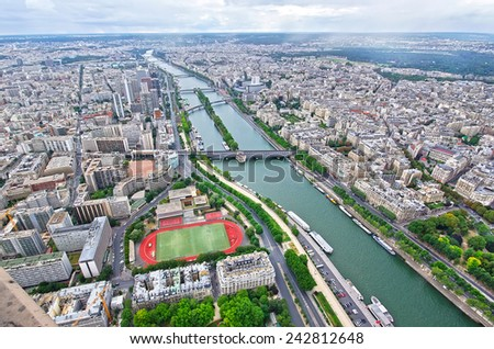 Paris, aerial view from Eiffel Tower.