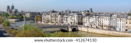 Paris, aerial view from the viewing point on the top of the Institute of Arabian World, with Notre Dame cathedral and river Seine