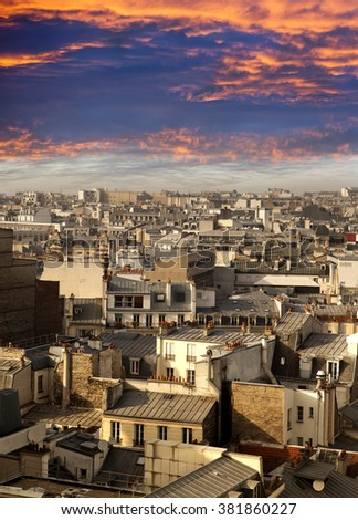 Paris. aerial View on roofs.