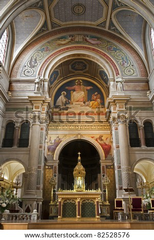 Paris - Altar form Francis Xavier church - stock photo
