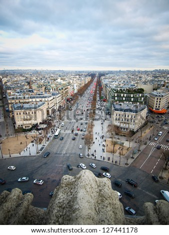 Paris and Champs Elysee from Arc de Triomphe - stock photo