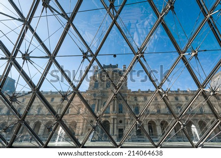 PARIS - APR 17 : Pavillon Rishelieu in Louvre, April 14, 2013, Paris, France. Louvre is the biggest Museum in Paris displayed over 60,000 square meters of exhibition space - stock photo