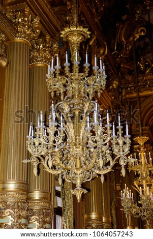 Paris april 1 2018 chandelier grand stock photo royalty free paris april 1 2018 chandelier of the grand foye of the palais garnier aloadofball Images