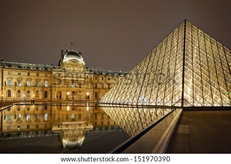 PARIS-APRIL 4: Night view of Louvre Art Museum. The Louvre is the biggest Museum in Paris displayed over 60,000 square meters of exhibition space, on April 4, 2013 in Paris, France. - stock photo