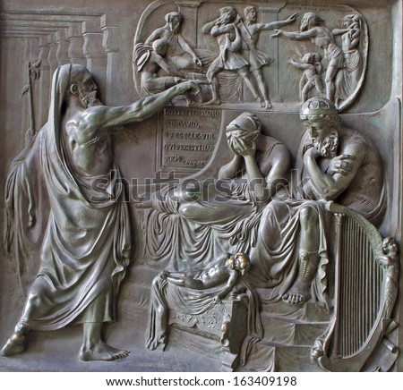 PARIS, APRIL 11: Relief from Madeleine church - prophet and king Ahab - old testament scene  from year 1837 by M. Triqueti on April 11, 2004, Paris. - stock photo