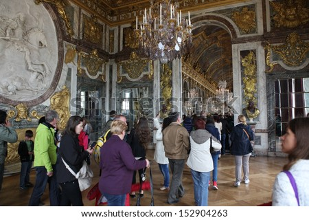 PARIS - APRIL 28. Visitors on queue for Versailles palace April, 28, 2013. The Versailles palace has been on UNESCO in World Heritage List for 30 years.