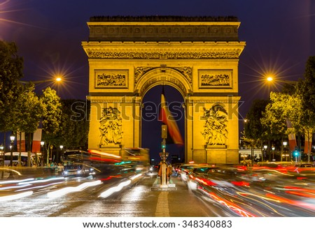 Paris Arc de Triomphe at night,France