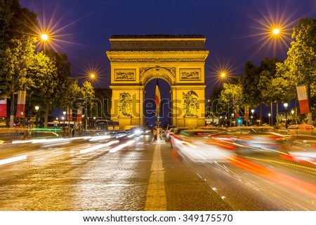 Paris Arc de Triomphe at night, France