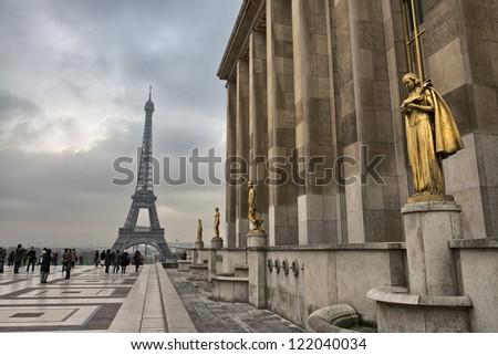 Paris. Architectural detail in Trocadero Area near Tour Eiffel. - stock photo