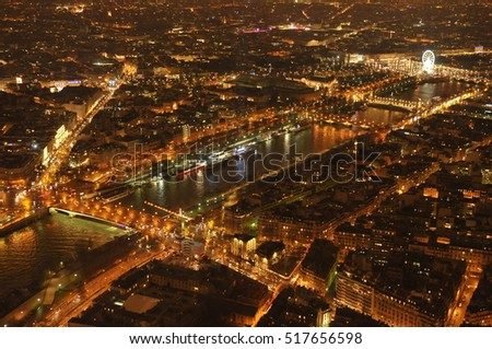 Paris at night, view from the Eiffel Tower point. Valentine's Day in France.