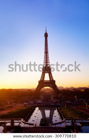 Paris at night, view of Eiffel tower - stock photo