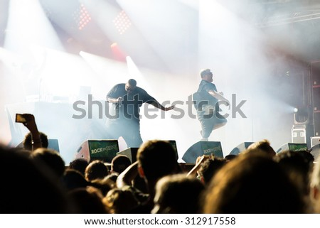 PARIS - AUG 31: Run the Jewels (hip hop band) in concert at Rock En Seine Festival on August 31, 2015 in Paris, France.