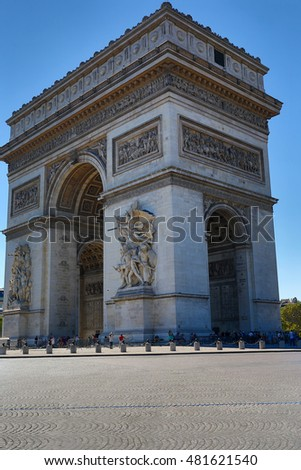 PARIS - AUGUST 17 2016: Arc de triomphe on May 30, 2011 in Place du Carrousel, Paris, France. The monument to Napoleonic victory is a tourist attraction near the Louvre.