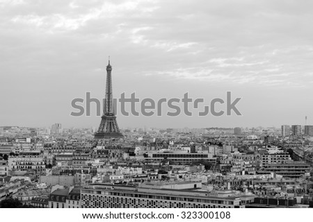 PARIS - AUGUST 09, 2015: Eiffel Tower at Paris downtown. Paris, aka City of Love, is a popular travel destination and a major city in Europe - stock photo