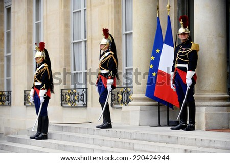 PARIS - AUGUST 30: Elysee Palace Republican Guard of honour during a welcome ceremony on August 30, 2013 in Paris. - stock photo